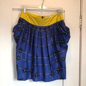 Anthropologie Odille Blue & Yellow Pocket Skirt